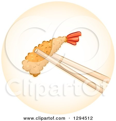 Clipart of Chopsticks Holding a Piece of Tempura Shrimp in an Orange Circle - Royalty Free Vector Illustration by BNP Design Studio