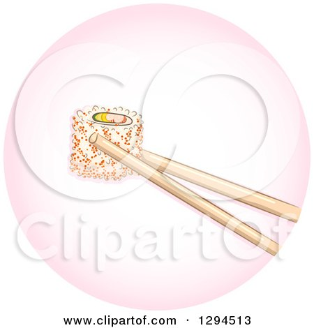 Clipart of Chopsticks Holding a Piece of California Maki Roll Sushi in a Pink Circle - Royalty Free Vector Illustration by BNP Design Studio