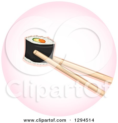 Clipart of Chopsticks Holding a Piece of Sushi Makizushi Roll in a Pink Circle - Royalty Free Vector Illustration by BNP Design Studio