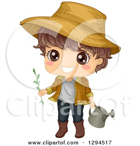 Clipart of a Happy Brunette White Boy Wearing a Sun Hat and Gardening with a Watering Can - Royalty Free Vector Illustration by BNP Design Studio