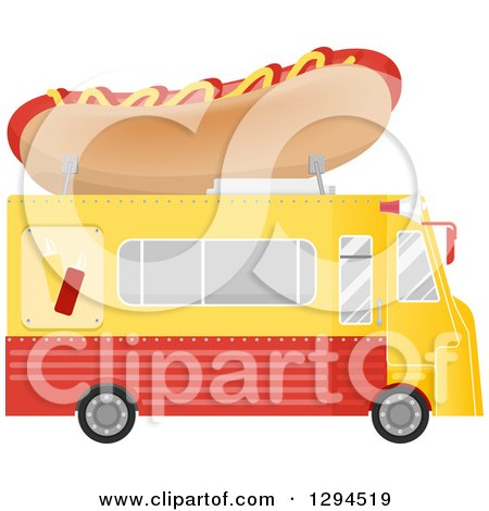 Clipart of a Side View of a Yellow and Red Food Truck with a Hot Dog on the Roof - Royalty Free Vector Illustration by BNP Design Studio