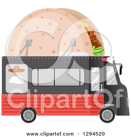 Clipart of a Black and Red Food Truck with a Taco on the Roof - Royalty Free Vector Illustration by BNP Design Studio