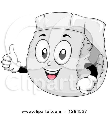 Clipart Of A Happy Cartoon Diaper Character Giving A Thumb