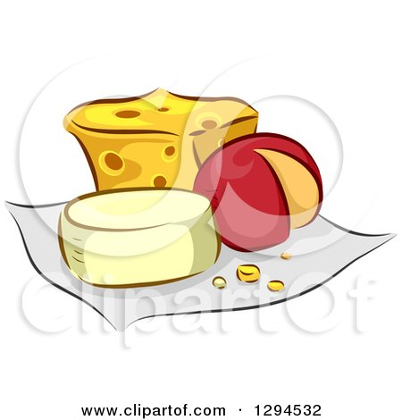 Clipart of Assorted Cheeses on a Cloth - Royalty Free Vector Illustration by BNP Design Studio