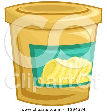 Clipart of a Tub of Margarine Butter - Royalty Free Vector Illustration by BNP Design Studio