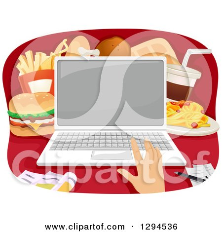 Caucasian Hand Ordering Fast Food on a Laptop Computer Posters, Art Prints
