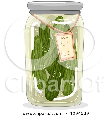Clipart of a Jar of Canned Pickles - Royalty Free Vector Illustration by BNP Design Studio