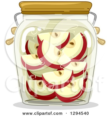 Clipart of a Jar of Canned Apples - Royalty Free Vector Illustration by BNP Design Studio