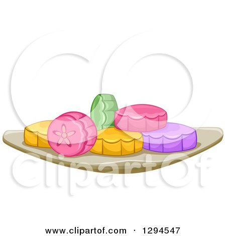 Clipart of a Plate of Colorful Mooncakes - Royalty Free Vector Illustration by BNP Design Studio