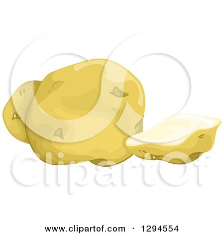 Clipart of a Slice and Whole Yukon Gold Potato - Royalty Free Vector Illustration by BNP Design Studio