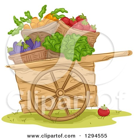 Woodc Art with Bushels of Carrot, Tomato, Eggplant and Lettuce Vegetables Posters, Art Prints