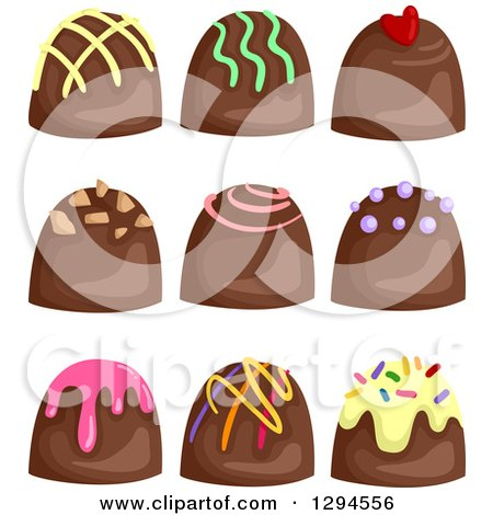 Clipart of Milk Chocolate Bon Bon Candies with Colorful Toppings - Royalty Free Vector Illustration by BNP Design Studio