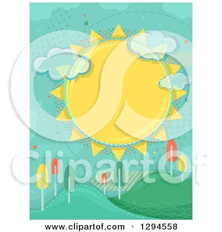 Clipart of a Large Sun with Clouds and Halftone over Hills with Colorful Autumn Trees - Royalty Free Vector Illustration by BNP Design Studio