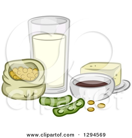 Clipart of Soy Beans and Products - Royalty Free Vector Illustration by BNP Design Studio
