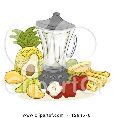 Clipart of a Sketched Blender and Fruits - Royalty Free Vector Illustration by BNP Design Studio