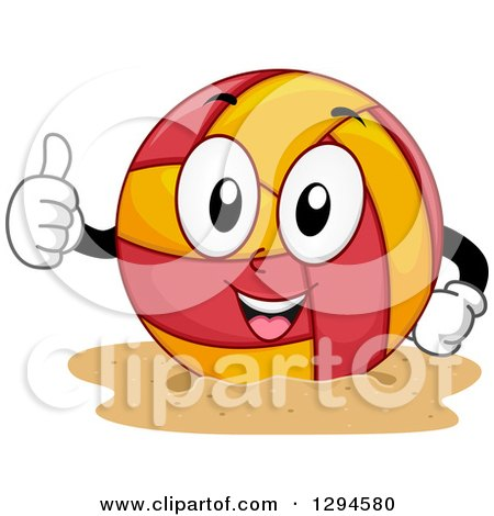 Clipart of a Cartoon Happy Beach Volleyball Character Giving a Thumb up - Royalty Free Vector Illustration by BNP Design Studio