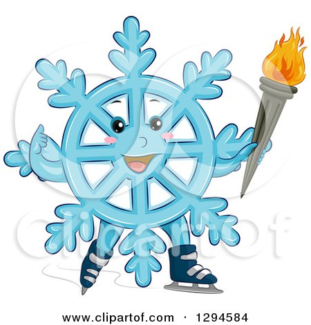 Clipart of a Happy Blue Winter Snowflake Character Ice Skating with a Torch - Royalty Free Vector Illustration by BNP Design Studio