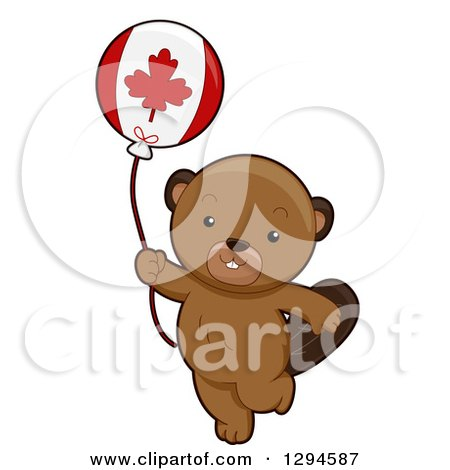 Clipart of a Cute Happy Beaver Walking with a Canadian Flag Balloon - Royalty Free Vector Illustration by BNP Design Studio