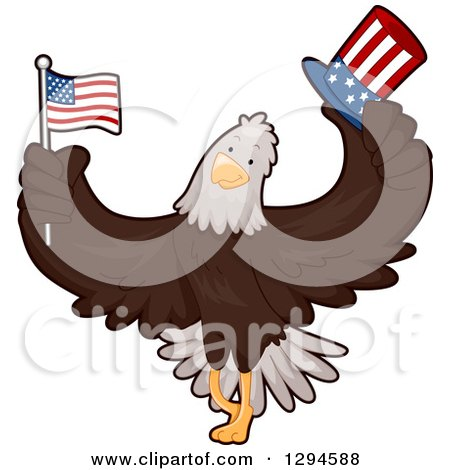 Clipart of a Cartoon Patriotic Bald Eagle Holding an American Flag and Top Hat - Royalty Free Vector Illustration by BNP Design Studio