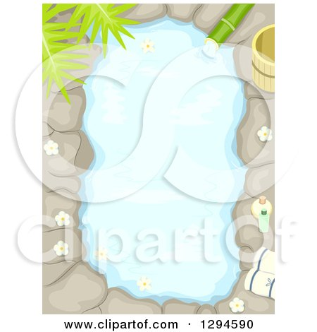 Clipart of an Aerial View of an Outdoor Bath with Stone and Flowers - Royalty Free Vector Illustration by BNP Design Studio