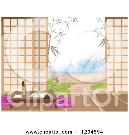 Clipart of a Japanese Inn Room, Yard and View of Mt Fuji During the Day - Royalty Free Vector Illustration by BNP Design Studio