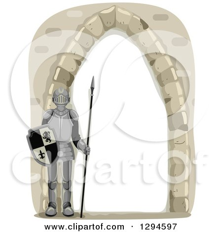 Clipart of a Stone Arch Castle Frame with a Fully Armored Knight - Royalty Free Vector Illustration by BNP Design Studio