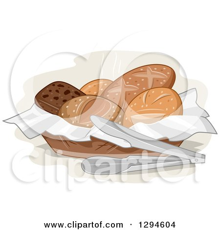 Clipart of a Basket of Assorted Bread and Tongs - Royalty Free Vector Illustration by BNP Design Studio