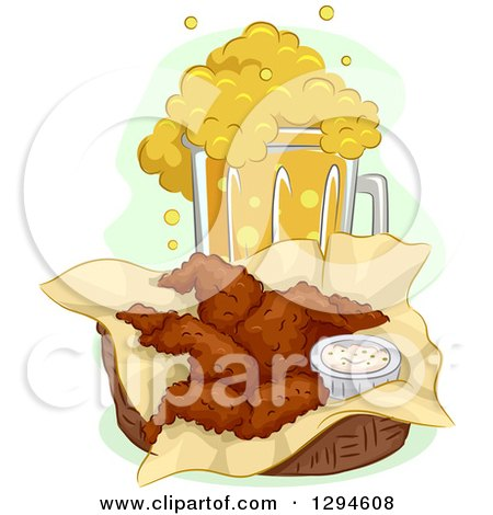 Clipart of a Basket of Buffalo Wings and a Frothy, Overflowing Mug of Beer - Royalty Free Vector Illustration by BNP Design Studio