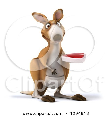 Clipart of a 3d Kangaroo Facing Slightly Right and Holding a Beef Steak - Royalty Free Illustration by Julos