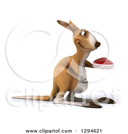 Clipart of a 3d Kangaroo Facing Right and Holding a Beef Steak - Royalty Free Illustration by Julos