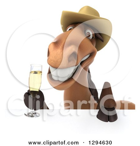Clipart of a 3d Happy Brown Cowboy Horse Holding Champagne over a Sign - Royalty Free Illustration by Julos