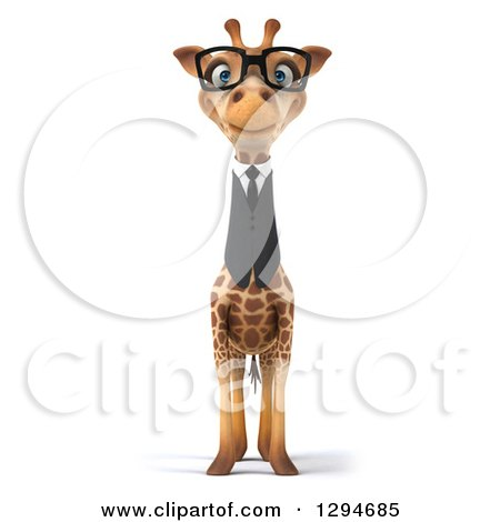 Clipart of a 3d Bespectacled Business Giraffe - Royalty Free Illustration by Julos
