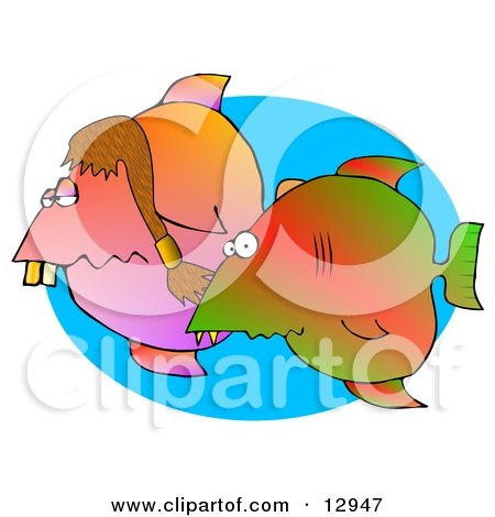 Silly Couple of Tropical Fish Swimming in the Ocean Clipart Graphic Illustration by djart