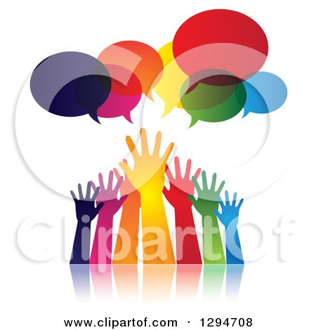 Clipart of a Group of Gradient Colorful Hands Reaching for Help Under Speech Bubbles - Royalty Free Vector Illustration by ColorMagic
