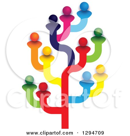 Clipart of a Colorful Tree Made of Family Members, Friends or Employees - Royalty Free Vector Illustration by ColorMagic