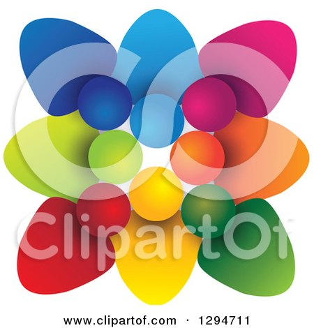 Clipart of a Unity Team Circle of Colorful People Huddled Shoulder to Shoulder, with Shading on White - Royalty Free Vector Illustration by ColorMagic