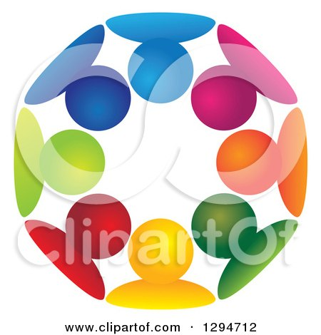 Clipart of a Unity Team Circle of Colorful People Huddled Together - Royalty Free Vector Illustration by ColorMagic