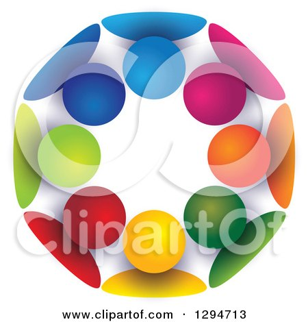 Clipart of a Unity Team Circle of Colorful People Huddled Together, with Shading on White - Royalty Free Vector Illustration by ColorMagic