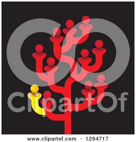 Clipart of a Tree Made of Red and One Yellow Family Members, Friends or Employees - Royalty Free Vector Illustration by ColorMagic