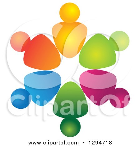 Clipart of a Unity Team Circle of Colorful Abstract People 3 - Royalty Free Vector Illustration by ColorMagic