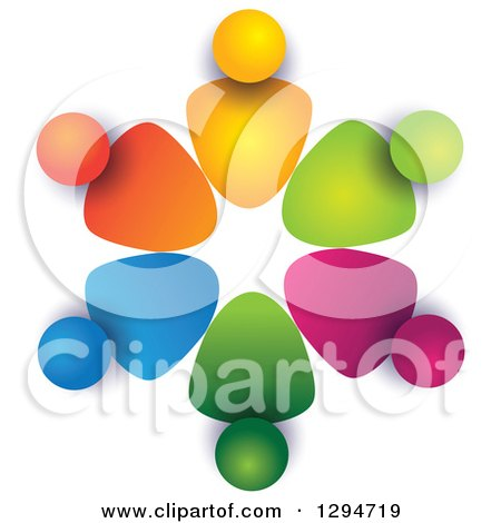 Clipart of a Unity Team Circle of Colorful Abstract People, with Shading on White 3 - Royalty Free Vector Illustration by ColorMagic