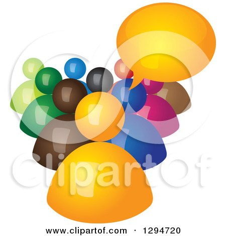 Clipart of a Group of 3d Colorful People with a Talking Boss - Royalty Free Vector Illustration by ColorMagic