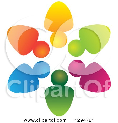 Clipart of a Unity Team Circle of Colorful Abstract People 2 - Royalty Free Vector Illustration by ColorMagic