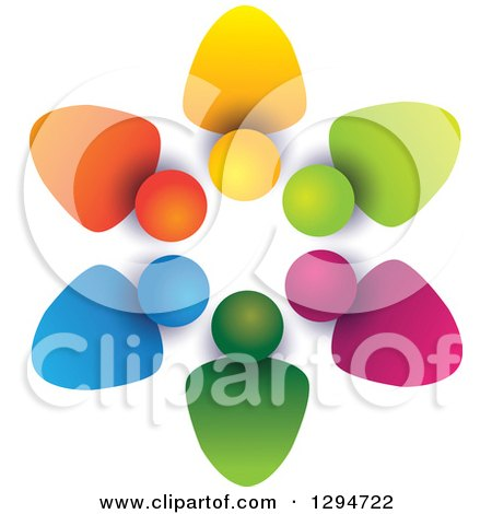 Clipart of a Unity Team Circle of Colorful Abstract People, with Shading on White 2 - Royalty Free Vector Illustration by ColorMagic