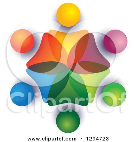 Clipart of a Unity Team Circle of Colorful Abstract People Overlapping with Shading on White - Royalty Free Vector Illustration by ColorMagic