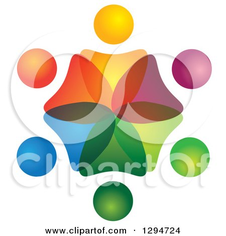 Clipart of a Unity Team Circle of Colorful Abstract People Overlapping - Royalty Free Vector Illustration by ColorMagic