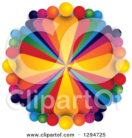 Clipart of a Circle of Colorful Teams of People with Shading on White - Royalty Free Vector Illustration by ColorMagic