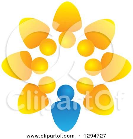 Clipart of a Unity Team Circle of Yellow People and a Blue Leader - Royalty Free Vector Illustration by ColorMagic