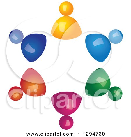 Clipart of a Unity Team Circle of 3d Colorful People - Royalty Free Vector Illustration by ColorMagic