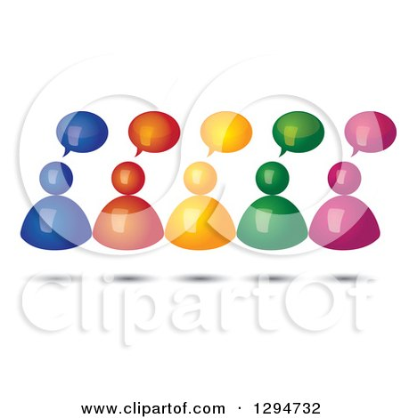 Clipart of a Group of 3d Floating Colorful People with Speech Balloons and Shadows - Royalty Free Vector Illustration by ColorMagic
